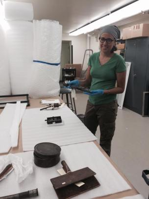 Inventorying part of the collection at The Berman Museum of Art