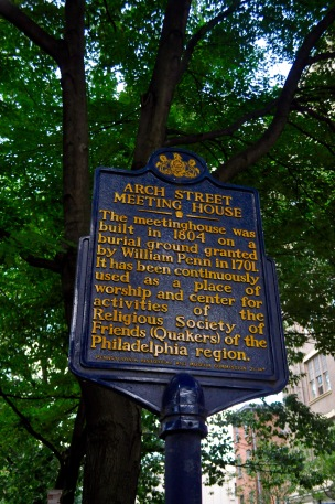 The sign for the Arch Street Meeting House